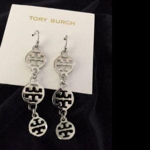 Tory Burch Silver Plated Drop Dangle Earrings